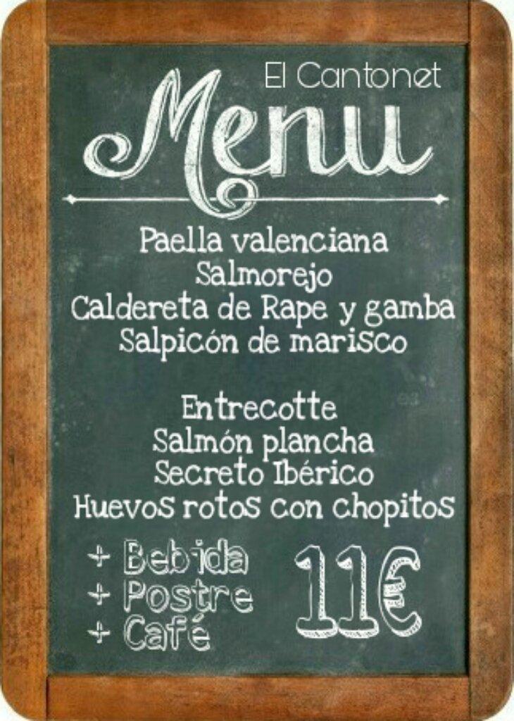 Menú del Día Restaurante El Cantonet